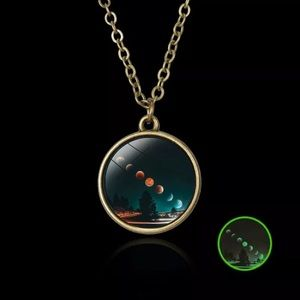 "Moon Exposure Pendant Lunar Phases 18"" chain"